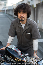 """Kross"" Kaichiroh Kurosu (Cherry's Company) with his entry in the Harley-Davidson Street 750 Build Off at Mooneyes Yokohama Hot Rod & Custom Show. Yokohama, Japan. December 5, 2015.  Photography ©2015 Michael Lichter."