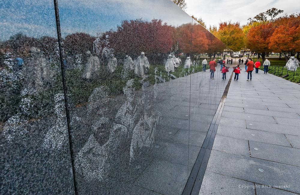 Detail view of etchings in granite wall of the Korean War Veterans Memorial, Washington, DC. The memorial, dedicated in July 1995, honors members of the U.S. armed forces who served in the Korean War.