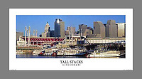 Signed and numbered 12x24 panoramic poster of Cincinnati's skyline during the Tall Stacks festival.