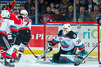 KELOWNA, BC - FEBRUARY 7: Jack O'Brien #92 of the Portland Winterhawks puts the puck in the net of Roman Basran #30 of the Kelowna Rockets at Prospera Place on February 7, 2020 in Kelowna, Canada. (Photo by Marissa Baecker/Shoot the Breeze)