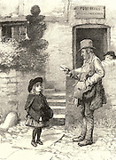 Little girl asking the village postman if there is a letterr for her. Engraving from 'The Illustrated London News' (London, 18 February 1888).