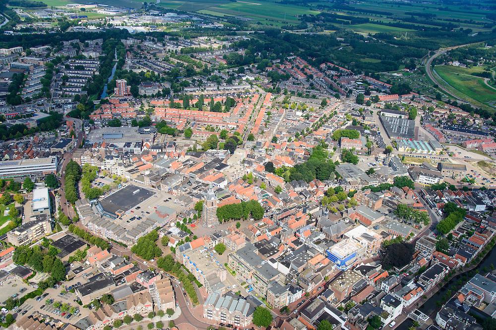 Nederland, Drenthe, Meppel, 27-08-2013;<br /> Overzicht van de stad Meppel. Grote Mariakerk  (rijksmonument) centraal in beeld.  Boven in beeld het platteland van Drenthe.<br /> City of Meppel (northern Netherlands) with cacals. The country on the horizon.<br /> luchtfoto (toeslag op standaard tarieven);<br /> aerial photo (additional fee required);<br /> copyright foto/photo Siebe Swart.
