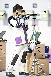 BUENOS AIRES, Oct. 8, 2018  Zhang Changhong of China competes during the Men's 10m Air Rifle Final at the 2018 Summer Youth Olympic Games in Buenos Aires, capital of Argentina, Oct. 7, 2018. Zhang Changhong ranked the 4th place with 205.6 points. (Credit Image: © Li Ming/Xinhua via ZUMA Wire)