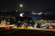 Newburgh, NY - The moon rises over the Hudson River on the night of the Newburgh Waterfront Festival on Sept. 1, 2007.