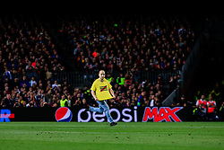 May 1, 2019 - Barcelona, BARCELONA, Spain - Spontaneous man running after jump at the field claiming freedom for Catalan political prisoners during the UEFA Champions League first leg match of Semi final between FC Barcelona and Liverpool FC in Camp Nou Stadium in Barcelona 01 of May of 2019, Spain. (Credit Image: © AFP7 via ZUMA Wire)