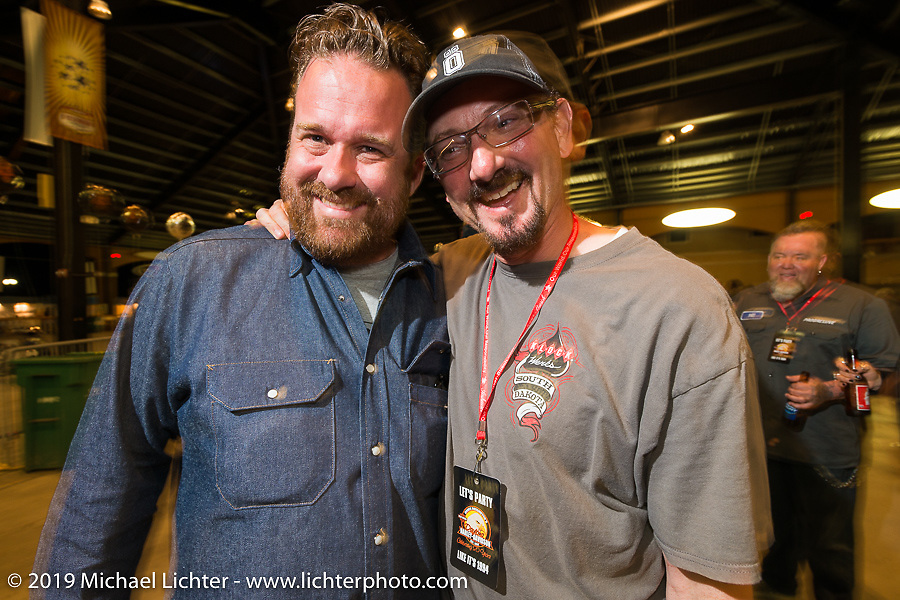 Bobby Seeger Jr and Brian Klock at the 20th Anniversary party for the Destination Harley-Davidson dealership in Ormond Beach, FL during Daytona Bike Week. FL, USA. March 10, 2014.  Photography ©2014 Michael Lichter.
