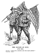 """The Fourth of July. 1776-1918. John Bull: """"'Doth not a meeting like this make amends?'"""" Uncle Sam: """"Sure!"""" (John Bull and Uncle Sam swap their national flags on American Independence Day during WW1)"""