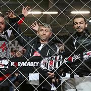 Besiktas's supporters during their Turkish Super League soccer match Besiktas between Eskisehirspor at the Basaksehir Fatih Terim arena in Istanbul Turkey on Monday, 07 March 2016. Photo by Kurtulus YILMAZ/TURKPIX