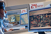 Belo Horizonte_MG, Brasil...Sala de monitoramento de uma empresa especializada em monitoramento de veiculos via satelite...Monitoring room, this company that specializes in monitoring vehicles with satellite...Foto: LEO DRUMOND /  NITRO