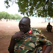 April 24, 2012 - Bentiu, South Sudan: Deputy Director of Military Intelligence addresses the press at the SPLA headquarters in Bentiu city...South Sudan and their northern neighbors, Sudan, have in the past two weeks been involved in heavily clashes over border disputes. Bentiu and neighboring villages have been under constant bombardment by the troops os Karthoum , who established their positions around 10 kilometers into South Sudan's territory. The international community is concerned about the possibility of a full on war between the two countries. (Paulo Nunes dos Santos/Polaris)