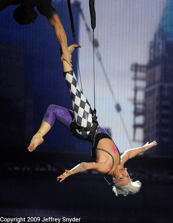 New York, NY-September 13, 2009: Pink performs during the MTV Video Music Awards at Radio City Music Hall on September 13, 2009 in New York City (Photo by Jeff Snyder/PictureGroup)