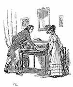 Jane Austen 'Persuasion'. Austen's last novel published 1818. Captain Wentworth giving Anne Elliot his note of declaration. Illustration by Hugh Thomson, 1897. Engraving.