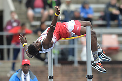 April 27, 2018 - Philadelphia, Pennsylvania, U.S - CARLINGTON MOULTON (47) from UWI Mona competes in the High Jump during the meet held in Franklin Field in Philadelphia, Pennsylvania. (Credit Image: © Amy Sanderson via ZUMA Wire)