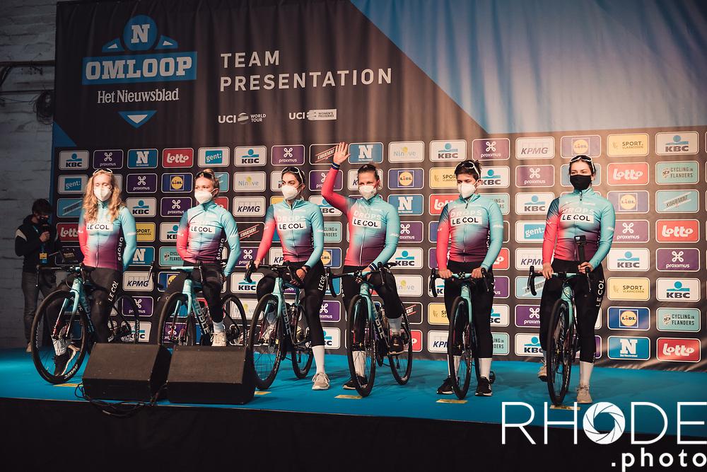 Team Drops Le Col pre race team presentation<br /> <br /> 13th Women's Omloop Het Nieuwsblad 2021 <br /> 1 Day Race: Gent – Ninove 124km<br /> <br /> ©Rhode.Photo