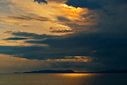 Storm light on Lake Superior at sunset<br />