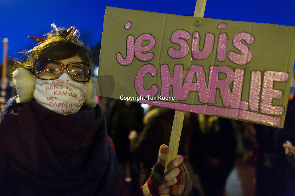 On 7 jan 2015, twenty thousand people demonstrated in Amsterdam against the killing of of the ten cartoonists of the french magazine Charlie Hebdo on 6 jan 2015