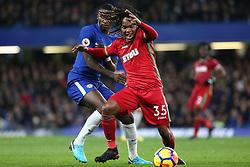 29 November 2017 - Premier League Football - Chelsea v Swansea City - Renato Sanches of Swansea pulls away from Antonio Rudiger of Chelsea - Photo: Charlotte Wilson / Offside
