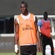 Mario Balotelli, training with AC Milan in preparation for the Guinness International Champions Cup tie with Chelsea at MetLife Stadium, East Rutherford, New Jersey, USA.  3rd August 2013. Photo Tim Clayton