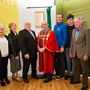30.05. 2017.                                             <br /> Limerick Museum opened the doors to its new home at the former Franciscan Friary on Henry Street in the heart of Limerick city, dedicated to the memory of Jim Kemmy, the former Democratic Socialist Party and Labour Party TD for Limerick East and two-time Mayor of Limerick.<br /> <br /> Pictured at the opening of the new Museum were, Margaret O'Donoghue, Joan Harnett, Joe Kemmy, Mayor of Limerick Cllr. Kieran O'Hanlon, Mike Kemmy, James Kemmy and Joe Harnett.<br /> <br /> The museum will house one of the largest collections of any Irish museum. Picture: Alan Place