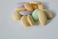 Assortment of multicoloured sugared almonds sweets<br />