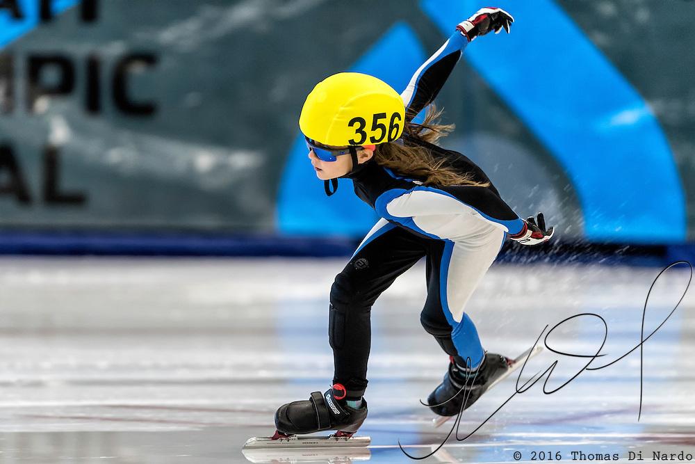 December 17, 2016 - Kearns, UT - Jocylyn Teece skates during US Speedskating Short Track Junior Nationals and Winter Challenge Short Track Speed Skating competition at the Utah Olympic Oval.