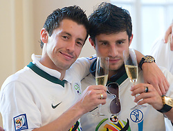 Robert Koren and Bojan Jokic at Reception of Slovenian National football team at president of Republic of Slovenia dr. Danilo Turk after Slovenia qualified for the FIFA World Cup South Africa 2010, in President's place , Ljubljana, Slovenia.   (Photo by Vid Ponikvar / Sportida)