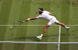Jiri Vesely in action on day one of the Wimbledon Championships at the All England Lawn Tennis and Croquet Club, Wimbledon.