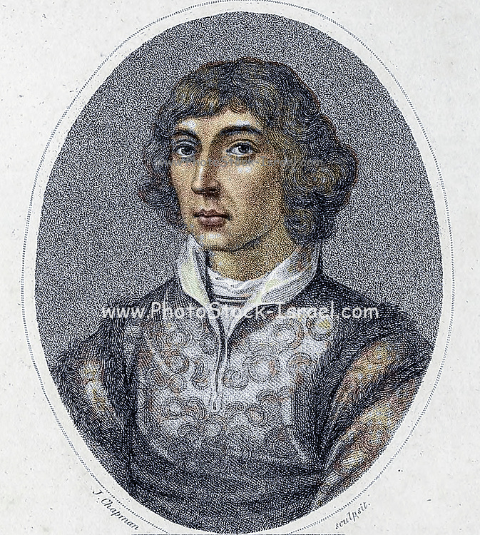 Machine Colourised (AI) Nicolaus Copernicus (Polish: Mikołaj Kopernik; German: Niclas Koppernigk, modern: Nikolaus Kopernikus; 19 February 1473 – 24 May 1543) was a Renaissance-era mathematician, astronomer, and Catholic canon who formulated a model of the universe that placed the Sun rather than Earth at its center. In all likelihood, Copernicus developed his model independently of Aristarchus of Samos, an ancient Greek astronomer who had formulated such a model some eighteen centuries earlier Copperplate engraving From the Encyclopaedia Londinensis or, Universal dictionary of arts, sciences, and literature; Volume V;  Edited by Wilkes, John. Published in London in 1810