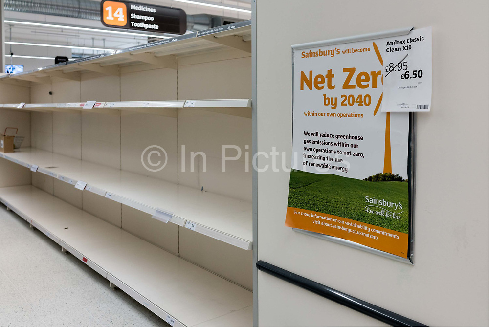 Empty shelves for toilet paper in Tesco supermarket on 18th May 2020 in London, United Kingdom. Supermarkets have been working around the clock to keep up with growing customer demands amid the coronavirus crisis. With many Britons rushing to stores to stockpile essential items, supermarkets across the nation have been forced to impose strict rules.