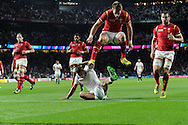 Jonny May of England scores his teams 1st try . Rugby World Cup 2015 pool A match, England v Wales at Twickenham Stadium in London, England  on Saturday 26th September 2015.<br /> pic by  Andrew Orchard, Andrew Orchard sports photography.