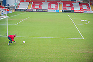 Stevenage goalkeeper David Stockdale (37) looks warms up on his own during the EFL Sky Bet League 2 match between Stevenage and Morecambe at the Lamex Stadium, Stevenage, England on 6 February 2021.
