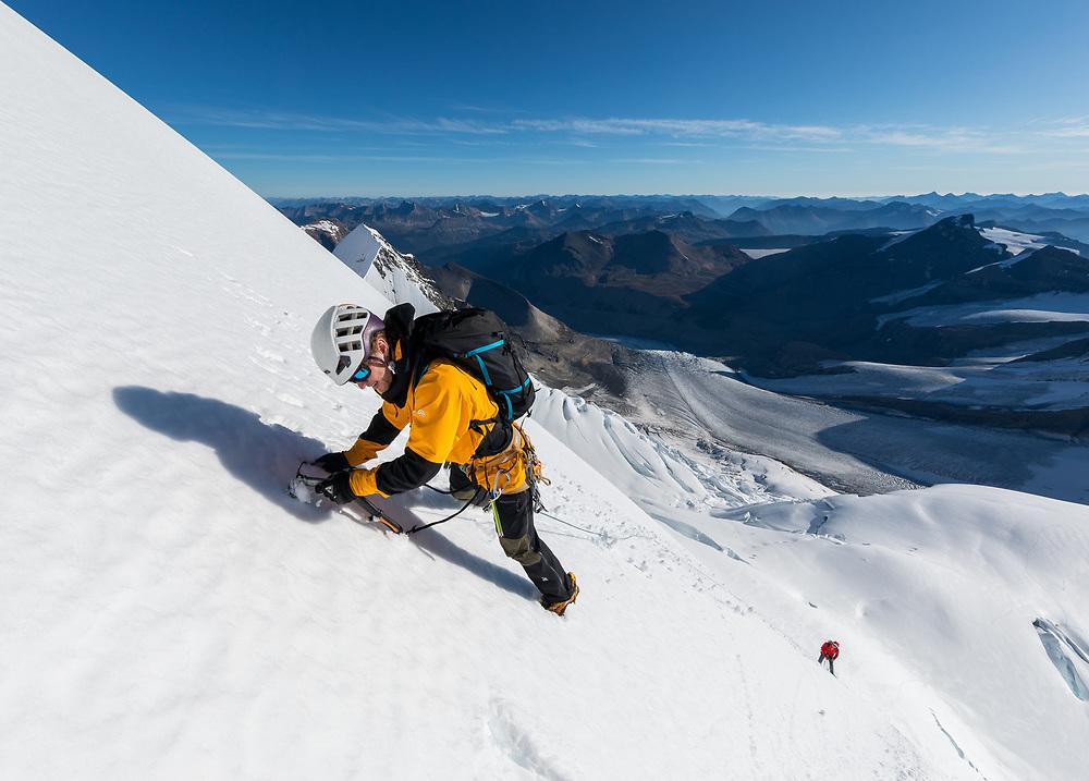 Dane Steadman climbing the Kain Face of Mt Robson in British Columbia