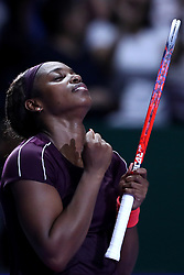 October 27, 2018 - Singapore - SLOANE STEPHENS of USA celebrates a win in the women's singles semifinal on day 7 of the WTA Finals, at Singapore Indoor Stadium. (Credit Image: © Paul Miller/ZUMA Wire)
