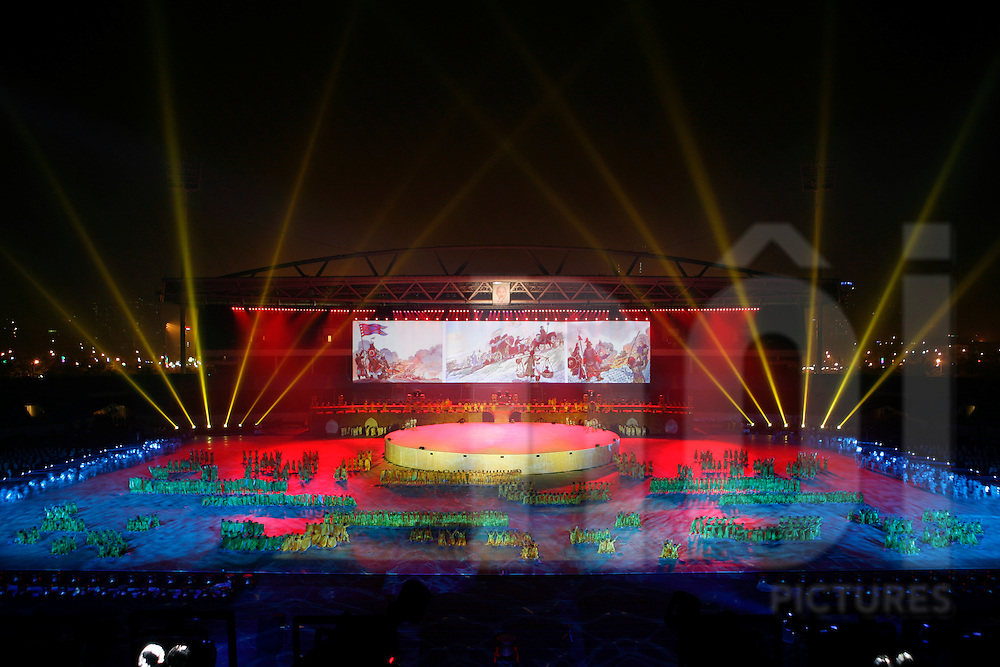 A big light show with dancers is organized  to celebrate Hanoi millenium anniversary. 8,9,10 october 2010. My Dinh Stadium, Hanoi, Vietnam..Hanoi / Thang Long 1000 years anniversary.