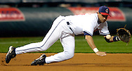 MORNING JOURNAL/DAVID RICHARD<br />Cleveland third baseman Aaron Boone dives for a base hit Tuesday night against the Devil Rays.
