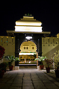 Shiv Niwas Palace Hotel courtyard and fountain, of HRH Hotels Group, in The City Palace Complex, Udaipur, Rajasthan, India