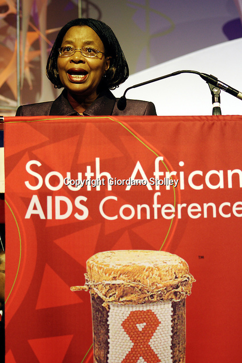 DURBAN - 5 June 2006 - Graca Machel, the wife of former South African president Nelson Mandela, addresses delegates at the third annual National AIDS Conference in Durban's International Convention Centre..Picture: Giordano Stolley/Allied Picture Press