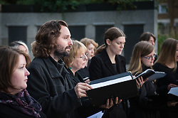 The British Humanist Choir performing at the Soirée in a Cemetery in Tower Hamlets