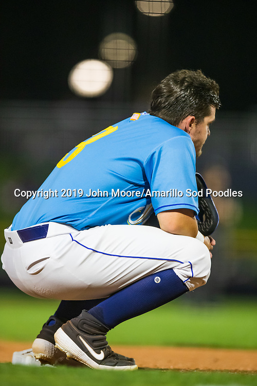 Amarillo Sod Poodles infielder Kyle Overstreet (3) against the Tulsa Drillers during the Texas League Championship on Wednesday, Sept. 11, 2019, at HODGETOWN in Amarillo, Texas. [Photo by John Moore/Amarillo Sod Poodles]