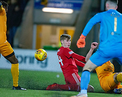 Aberdeen's Dean Campbell scoring their second goal with Aberdeen's Stevie May. Livingston 1 v 2 Aberdeen, SPFL Ladbrokes Premiership played 29/1/2018 at Livingston home ground, Tony Macaroni Arena.