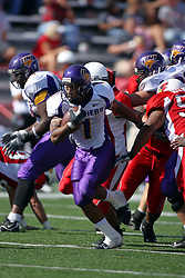 29 September 2007: Corey Lewis bolts from the pack. In action between the Northern Iowa Panthers and the Illinois State Redbirds, the Panthers chewed up the Redbirds by a score of 23 - 13. Game action commenced at Hancock Stadium on the campus of Illinois State University in Normal Illinois..