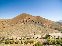 Aerial view of Caldera de Gairía volcano in Fuerteventura, Canary Islands.