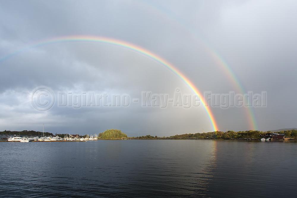 Double Rainbow by Jensholmen, Herøy, Norway.   Dobbel regnbue ved Jensholmen.