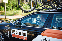 Boels Dolmans team manager, Danny Stam gives instructions over the radio at La Course by Le Tour de France 2018, a 112.5 km road race from Annecy to Le Grand Bornand, France on July 17, 2018. Photo by Sean Robinson/velofocus.com