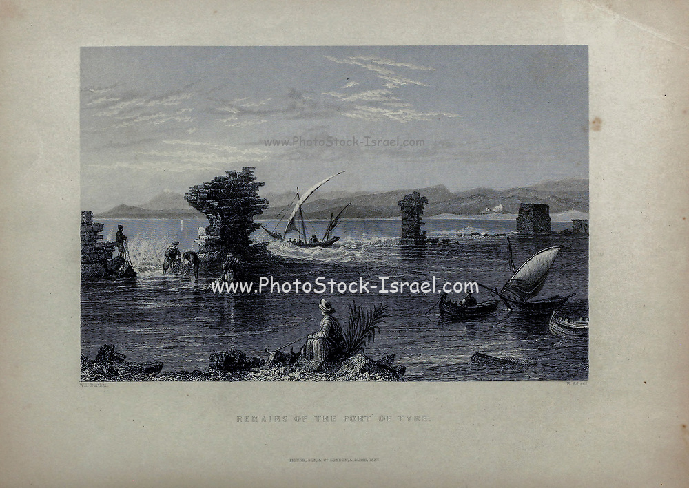 Remains of the Port of Tyre [Lebanon] from Volume 2 of Syria, the Holy Land, Asia Minor, &c. by Carne, John, 1789-1844; Illustrated by Bartlett, W. H. (William Henry), 1809-1854, and Allom, Thomas, 1804-1872 Published in London in 1837