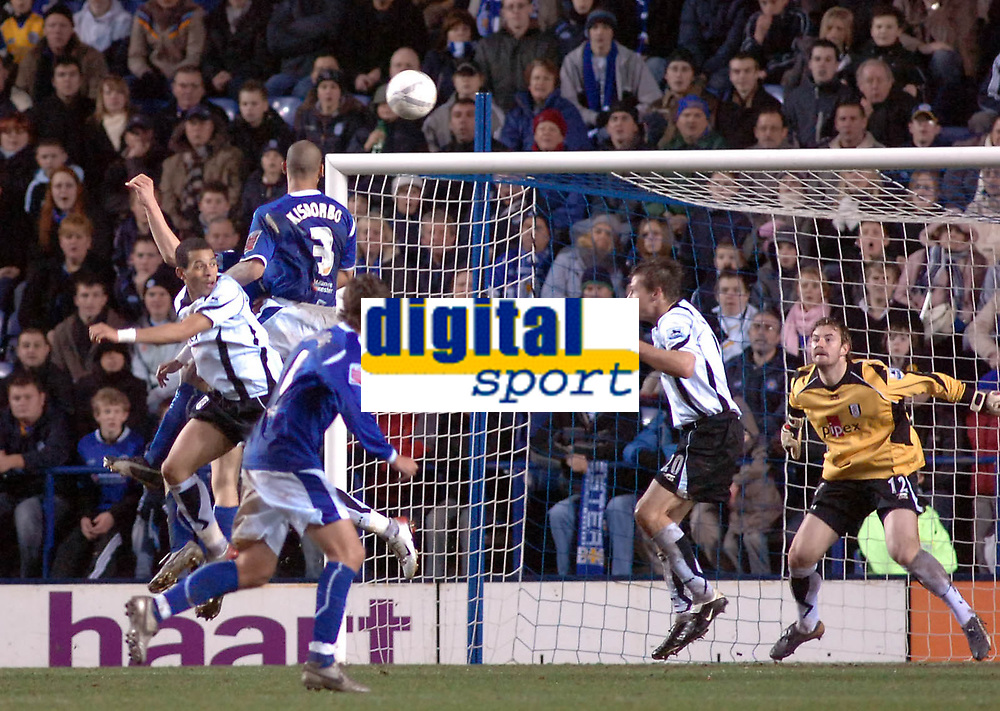 Photo: Kevin Poolman.<br />Leicester City v Fulham. The FA Cup. 06/01/2007. Patrick Kisnorbo of Leicester heads home their first goal.