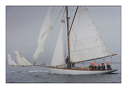 Viola 1908 Gaff Cutter with Gaffs of class 2 boats in the background...Sunday race from Largs to Rhu started damp but briefly lifted for a downwind race to the upper Clyde...* The Fife Yachts are one of the world's most prestigious group of Classic .yachts and this will be the third private regatta following the success of the 98, .and 03 events.  .A pilgrimage to their birthplace of these historic yachts, the 'Stradivarius' of .sail, from Scotland's pre-eminent yacht designer and builder, William Fife III, .on the Clyde 20th -27th June.   . ..More information is available on the website: www.fiferegatta.com . .Press office contact: 01475 689100         Lynda Melvin or Paul Jeffes