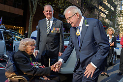 April 25, 2016 - Sydney, NSW, Australia - The Honourable T.F. Bathurst AC, Lieutenant-Governor of New South Wales greets Daphne Dunne, widow of Victoria Cross recipient Albert Chowne VC MM prior to the Anzac Day March in Sydney. (Credit Image: © Hugh Peterswald/Pacific Press via ZUMA Wire)