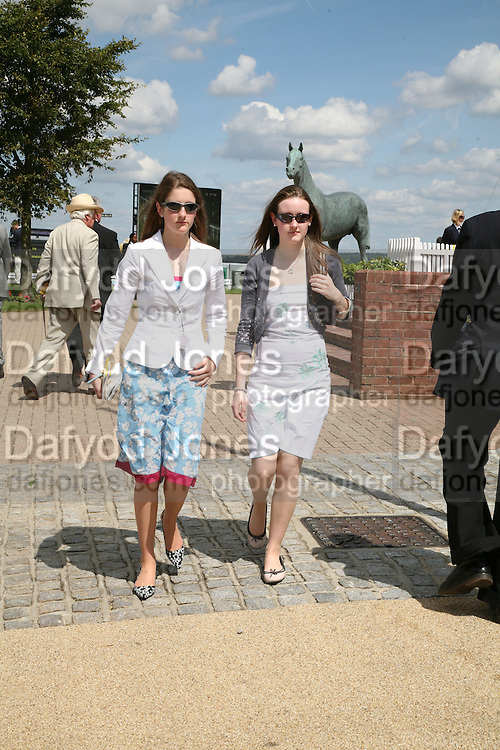 Rosie Vickers and Abi Taylor, Glorious Goodwood. 31 July 2007.  -DO NOT ARCHIVE-© Copyright Photograph by Dafydd Jones. 248 Clapham Rd. London SW9 0PZ. Tel 0207 820 0771. www.dafjones.com.