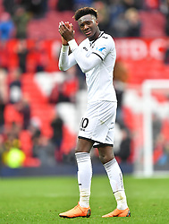 Swansea City's Tammy Abraham applauds the fans at the end of the match